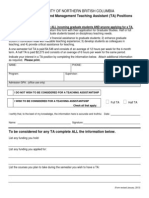 2013 Teaching Assistant Application Form  for unbc