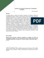 As Indicações Geográficas no Tribunal de Justiça das Comunidades Européias