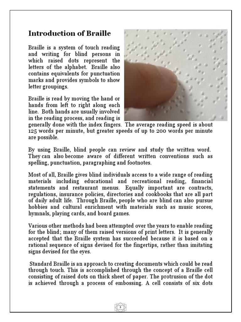 Introduction Of Braille Visual Impairment Reading Process
