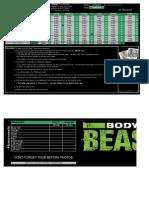 CoachWoot Body Beast Workout Tracking Sheet Schedule Worksheet