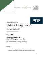 WP85 Blommaert 2012 Sociolinguistics English Language Studies