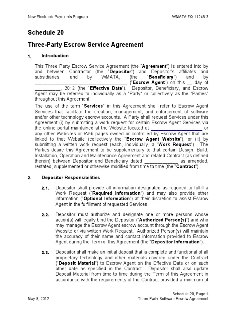 Three Party Software Escrow Agreement Law Of Agency Indemnity
