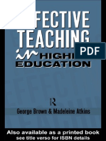 1988 Brown&Atkins - Effective Teaching in Higher Education