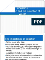 Adaptation & Selection of Words