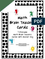Math Problems and Math Brainteasers Freebie