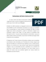 Declaraciones Del Rector Del RUM