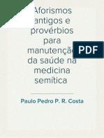 Aforismos antigos e provérbios para manutenção da saúde na medicina semítica