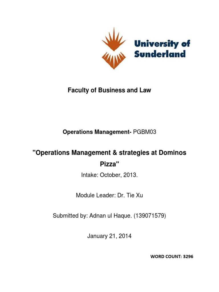 domino s operational strategies and operations management adnan domino s operational strategies and operations management adnan ul haque