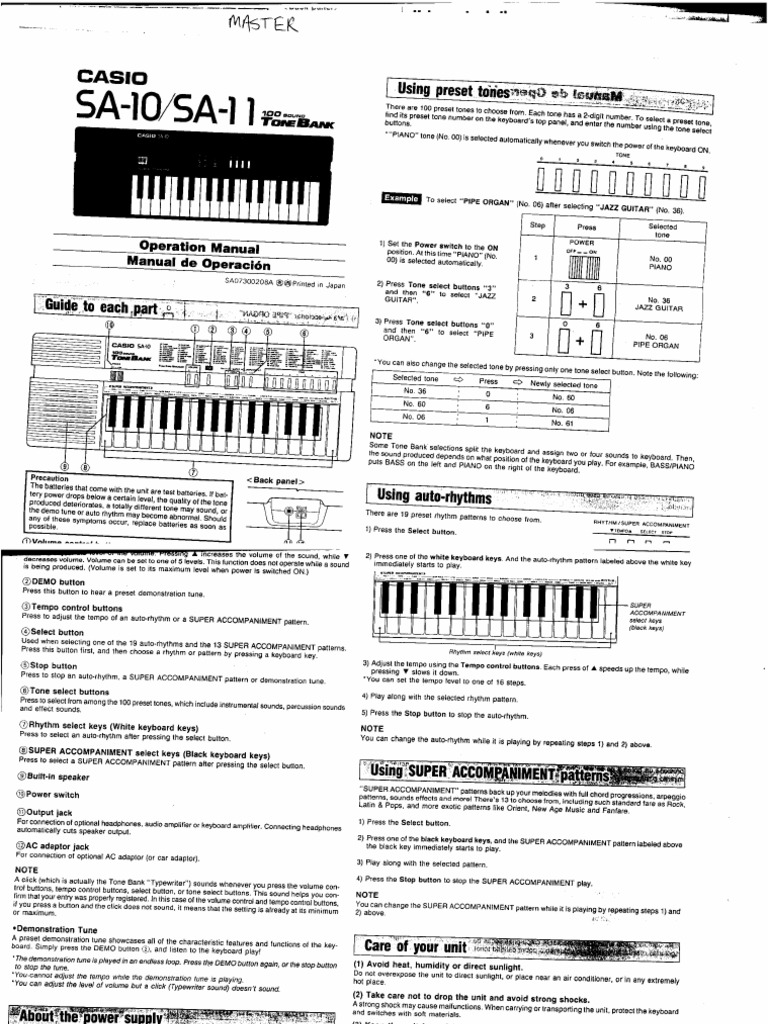 Casio Sa 11 Manual