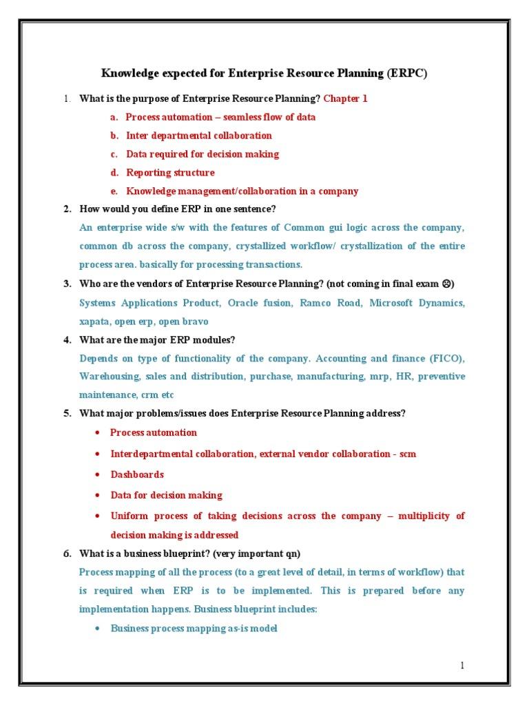 Erp questions enterprise resource planning corporate jargon malvernweather Choice Image