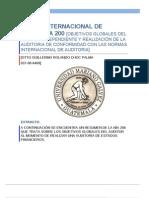 NIA 200 Objetivo y Principios Generales de La Auditoria