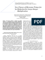 Application of New Classes of Mersenne Primes for Fast Modular Reduction for Large-Integer Multiplication