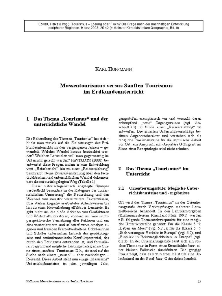 Hoffmann - Massentourismus vs Sanfter Tourismus im ...