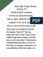 Nativity of the Holy Virgin Church - Newsletter # 19