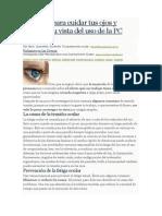 Consejos Para Cuidar Tus Ojos y Proteger Tu Vista Del Uso de La PC