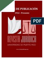 Índice de publicación de la Revista Jurídica de la UPR (1932-Presente)