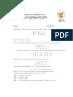 Algebra Linear - Prova 01 (2013)
