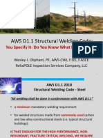 Thursday 9 15 AM Welding Panel-AWS D1.1 Structural Welding Code-Wes Oliphant