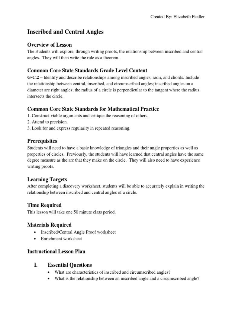 Angle Lesson Plan Circle – Central Angles Worksheet