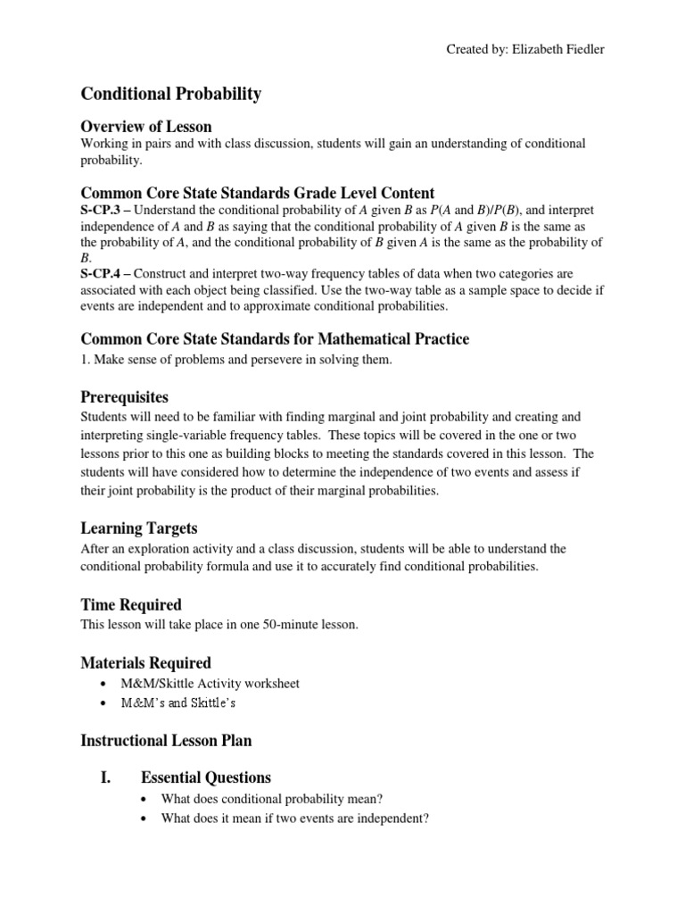 Worksheets Conditional Probability Worksheets probability lesson plan common core state standards initiative