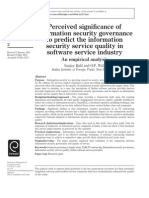 Perceived significance of information security governance to predict the information security service quality in software service industry An empirical analysis Sanjay Bahl and O.P. Wali Indian Institute of Foreign Trade, New Delhi, India