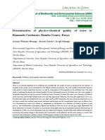 Determination of physico-chemical quality of water in Kiamumbi Catchment, Kiambu County, Kenya