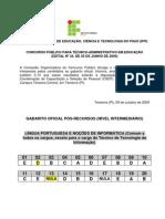 Gabaritos Pos-Recursos - Intermediário