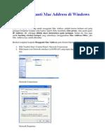 Cara Mengganti Mac Address Di Windows