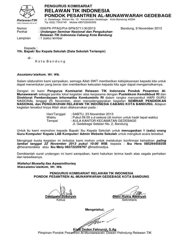 Surat Undangan p e s e r t a Seminar Pendidikan Nasional ...