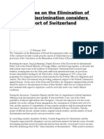 Committee on the Elimination of Racial Discrimination Considers Report of Switzerland