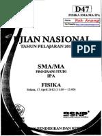 Pembahasan Soal UN Fisika SMA 2012 Paket D47 Zona D