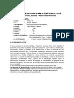 Programacion Curricular Anual Persona Familia y Relaciones Humanas 2013