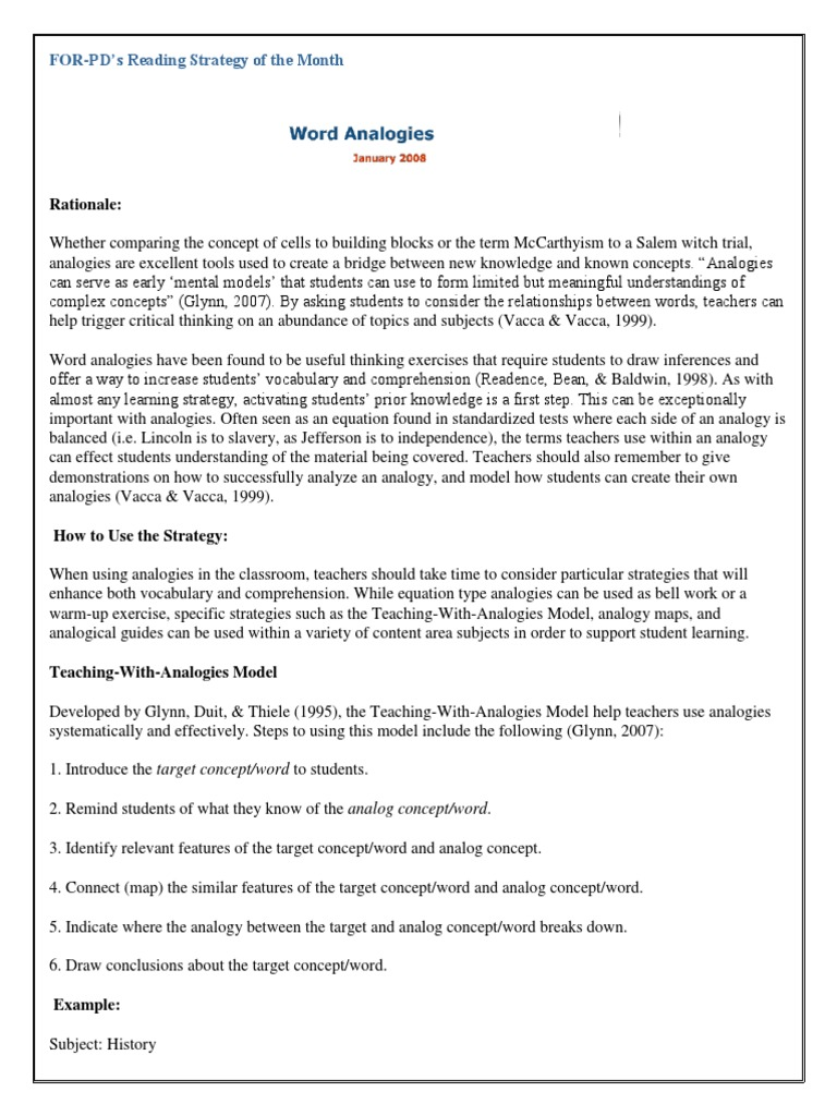 Vocabulary Word Analogies Strategy Conceptword Relationships