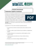 Trastorno de Ansiedad Generalizada Tratamiento Cognitivo Conductual