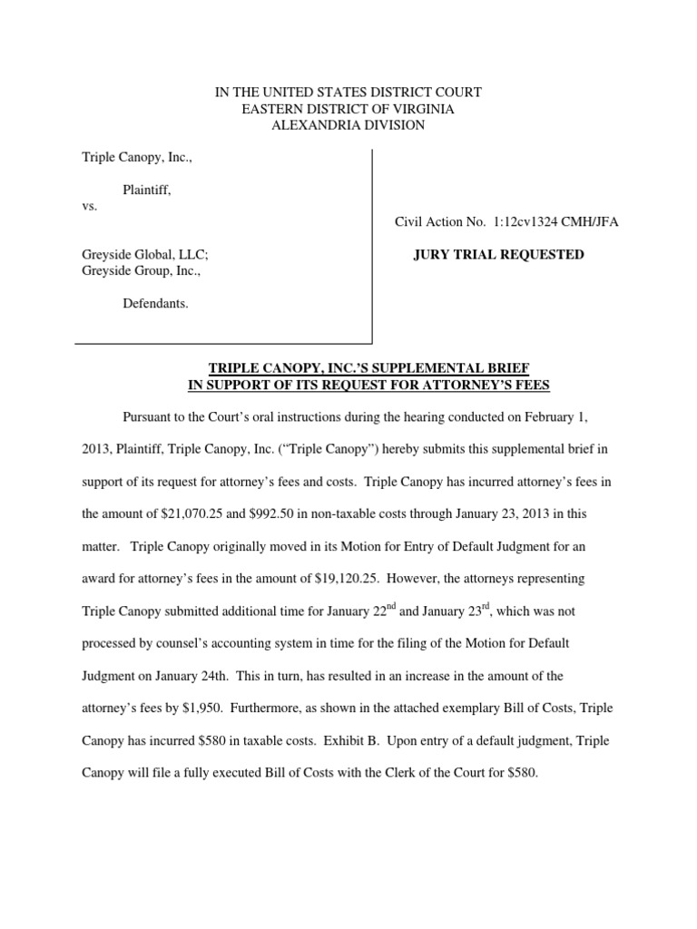 Brief In Support Of Lawsuit By Triple Canopy Against Alex Popovic Greyside Group Associated Realtors Default Judgement For
