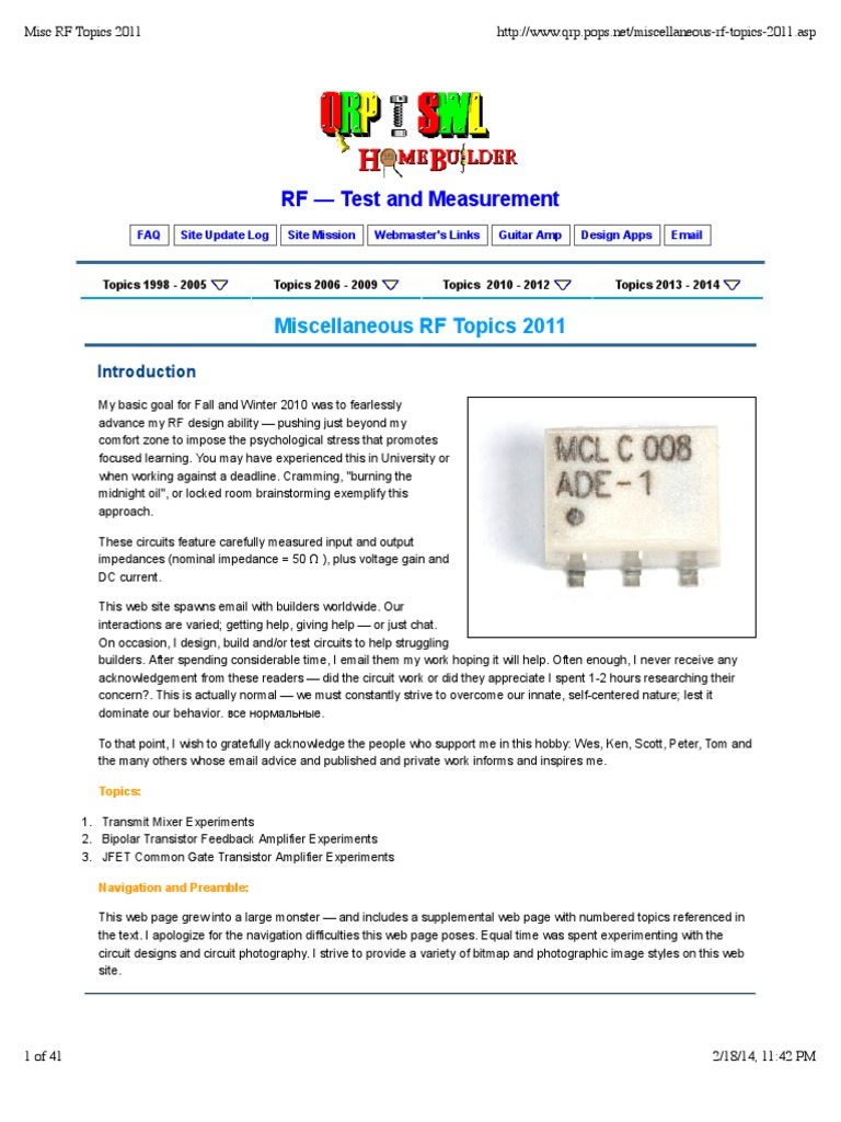 Misc Rf Topics 2011 Amplifier Inductor The Mixer Circuit Of Radio Frequency Dual Npn