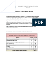 G-costo Total de La Maqina de Ensayo