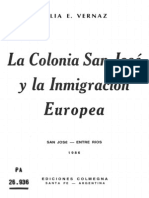 Vernaz. La colonia San José y la inmigración europea.