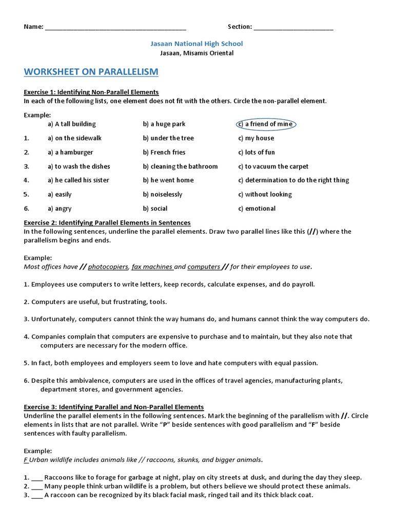 Worksheets Parallelism Worksheet worksheet on parallelism raccoon