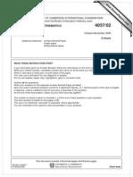 Additional Mathematics 2005 November Paper 2