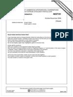Additional Mathematics 2006 November Paper 1