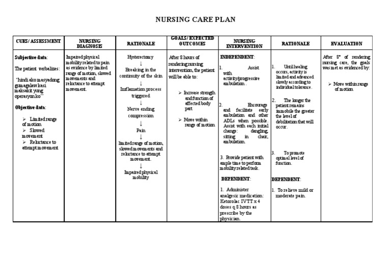 Nursing care plan for impaired mobility