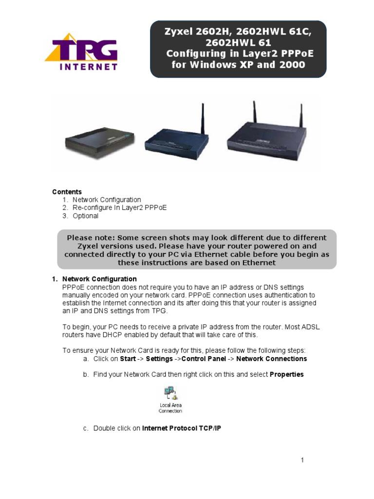 ZyXEL P2602HWL 61C PPPoE | Ip Address | Computer Network