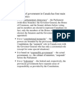 Characteristics of the Form of Government in Canada