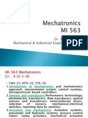 1 Introduction Mechatronics Control System Control Theory