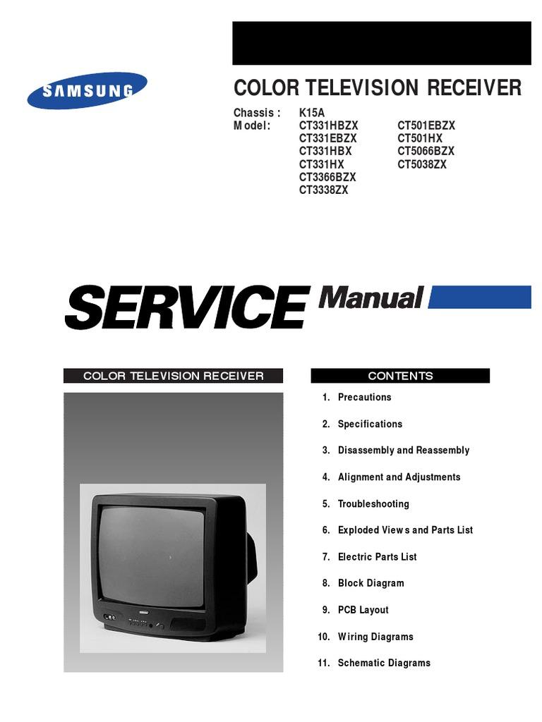 2896284 Samsung Ct3338 Chasis K15a Tv Service Manualpdf Crt Screen Schematic
