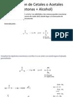 Formacion de Cetales o Acetales