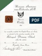 Certificado de conclusión de Estudios de Ingles en la Primaria Bilingue del IMARC