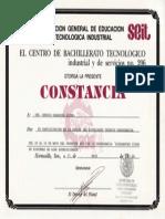 Constancia de participación en la Semana del Estudiante Técnico del CBTIS 206 Mayo de 1996