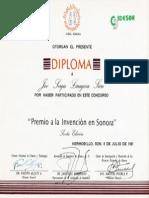 Diploma de participacion del Premio a la Invención en Sonora Sexta Edición 8 de Julio de 1995